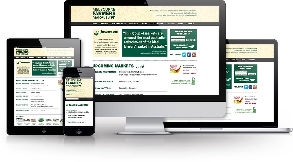 Photo of the website on desktop, tablet and mobile