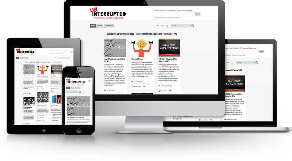 Photo of website on desktop, tablet and mobile